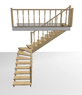 Расчёт цены поворотной деревянной лестницы на второй этаж с забежными ступенями на 90 градусов