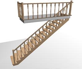 Расчёт цены прямой одномаршевой деревянной лестницы на второй этаж